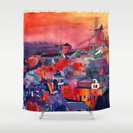 Sunset on Santorini Shower Curtain
