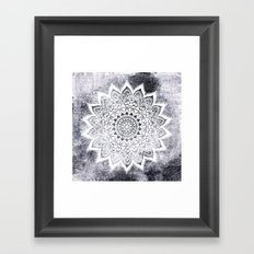 BOHO WHITE NIGHTS MANDALA Framed Art Print