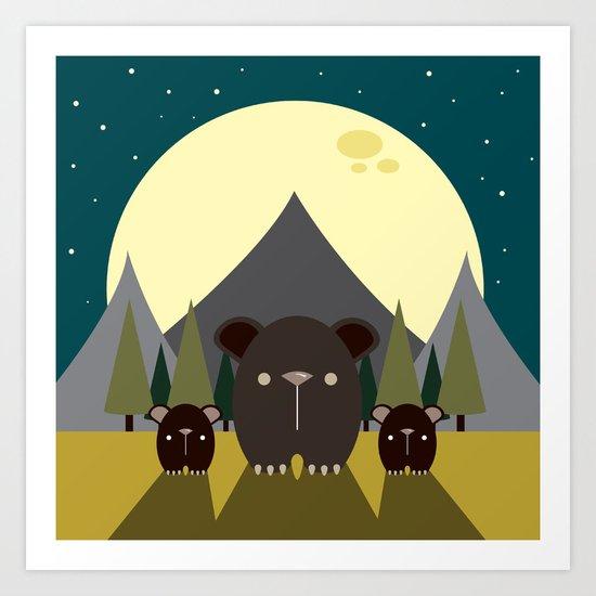 Beary Nice Night Art Print