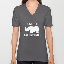 Save The Fat Unicorns Unisex V-Neck