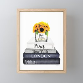 Books, Sunflowers, City's,Cities, travel, Fashion illustration, Amanda Greenwood, watercolor Framed Mini Art Print
