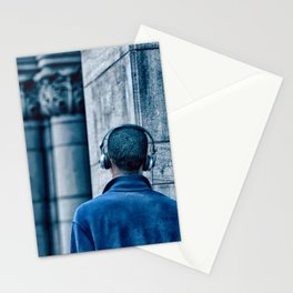 Man headset blue Stationery Cards