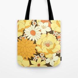 Yellow, Orange and Brown Vintage Floral Pattern Tote Bag
