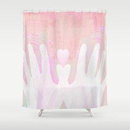 Healing Hands Pink Shower Curtain