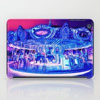 carousel iPad Cases featuring Carousel Merry-G0-Round Pink Purple by WhimsyRomance&Fun