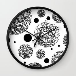 Scribbles - Black and white scribbles and black circles pattern on white Wall Clock