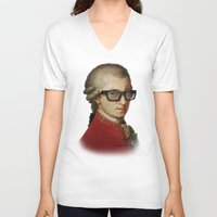 mozart V-neck T-shirts featuring Funny Hipster Mozart by Paul Stickland for StrangeStore