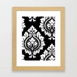 Decorative Damask Art I White on Black Framed Art Print