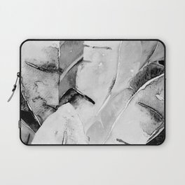 Banana Tree Leaves   Watercolor Black and White Laptop Sleeve