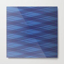 Checkered Pattern Light Blue Color Metal Print