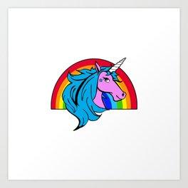 Colorful Cartoon Unicorn Rainbow - Blue Art Print