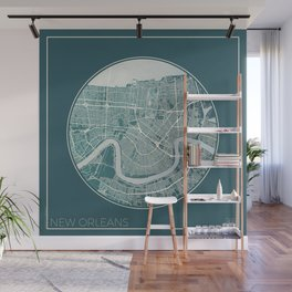 New Orleans Map Planet Wall Mural