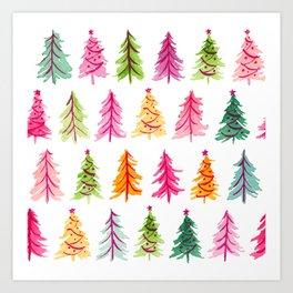 Colorful Vintage Bottlebrush Christmas Trees Art Print