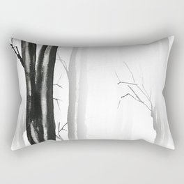 wood, snow and fog Rectangular Pillow