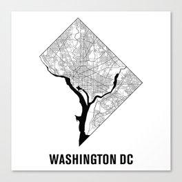 Washington DC Map B&W Canvas Print