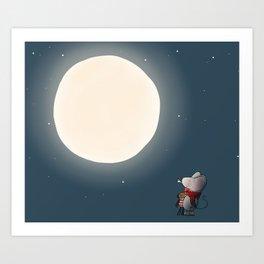 Little Mouse - Full Moon Art Print