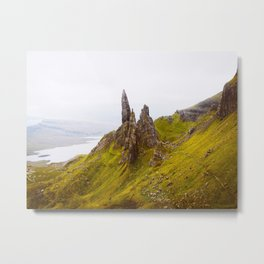 Icelandic Grassland Landscape Pointy Mountains Rocks Metal Print