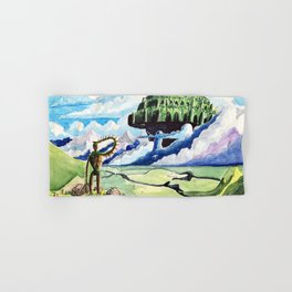 Laputa, Relaxing Dreamy Cloud, Blue Sky, Green Scenery Painting, Japanese animation Hand & Bath Towel