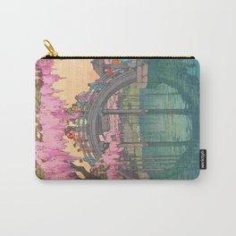 Yoshida Kameidô Japanese Woodblock Print Vintage Asian Art Wisteria Garden Bridge Carry-All Pouch