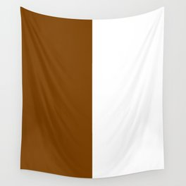 White and Chocolate Brown Vertical Halves Wall Tapestry
