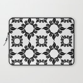 Black And White Floral Pattern Laptop Sleeve