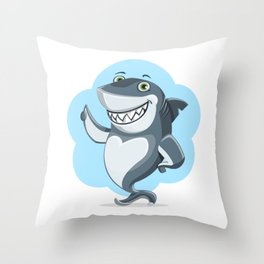 Smiling Shark Gives a Thumbs Up Throw Pillow
