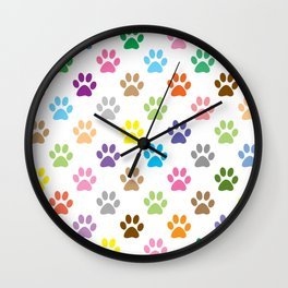 Colorful puppy paw prints pattern Wall Clock