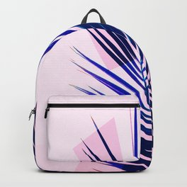 Indigo Palm Leaves on Pink Pastel Geometry #tropical #decor #lifestyle Backpack