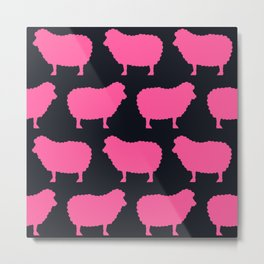 Sheep Pink Metal Print