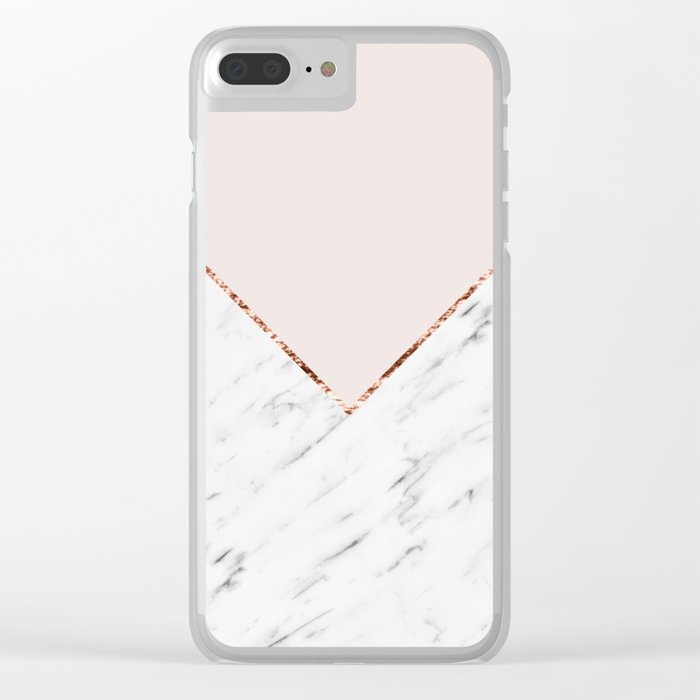 Peony blush geometric marble Clear iPhone Case
