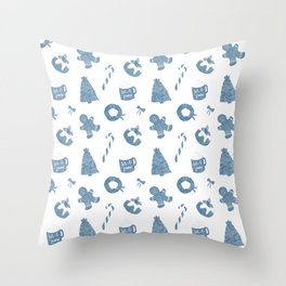Blue Christmas Holiday Pattern Throw Pillow