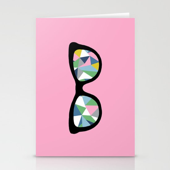 Abstract Eyes on Pink Stationery Cards