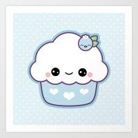 Cute Blueberry Cupcake Art Print