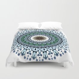 Ink and pen drawing Blue Mandala Duvet Cover
