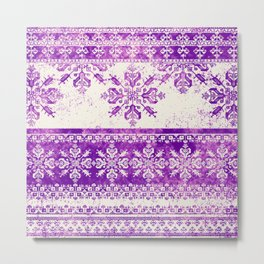purple fair isle flake on cream Metal Print