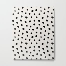 Modern Polka Dots Black on Light Gray Metal Print