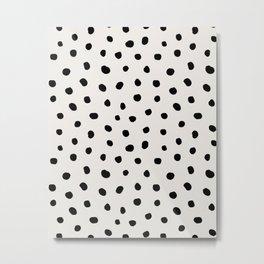 Modern Polka Dots Black on Light Gray Metal Print