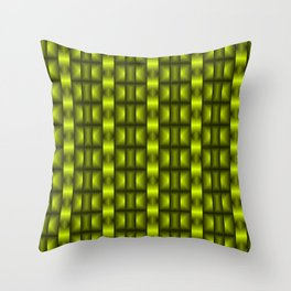 Fashionable large floral from small yellow intersecting squares in stripes dark cage. Throw Pillow