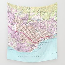 Vintage Map of Santa Barbara California (1952) Wall Tapestry