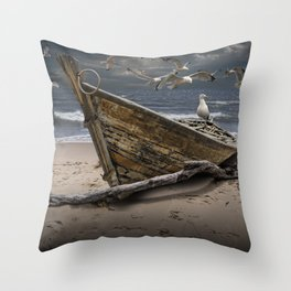 Gulls Flying over a Shipwrecked Wooden Boat Throw Pillow