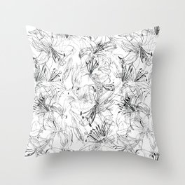 lily sketch black and white pattern Throw Pillow