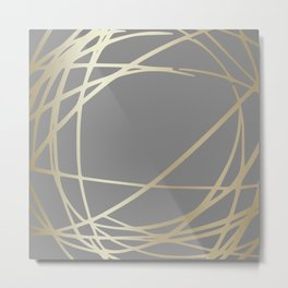 Gold and Gray Circles and Swirls Striped Abstract Pattern Metal Print