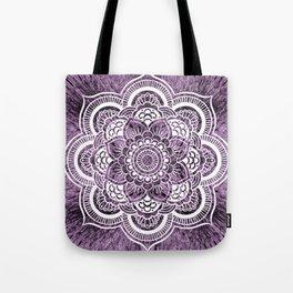 Mandala Grayish Purple Colorburst Tote Bag