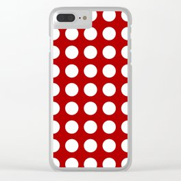 Red and white polka dots pattern Clear iPhone Case