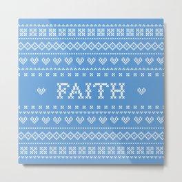 FAITH faux cross stitch sampler on light blue Metal Print