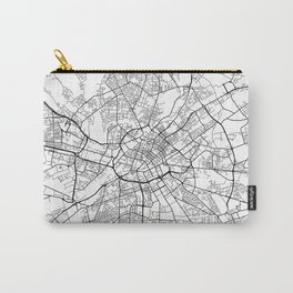 Manchester Map, England - Black and White Carry-All Pouch