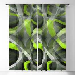 Eighties Styled Grey and Lemon Curve Pattern Blackout Curtain