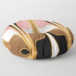 Mid Century Modern Liquid Watercolor Abstract // Gold, Blush Pink, Brown, Black, White Floor Pillow