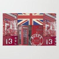 british flag Area & Throw Rugs featuring Very British by LebensART