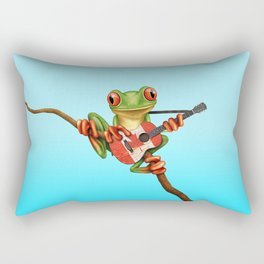 Tree Frog Playing Acoustic Guitar with Flag of Canada Rectangular Pillow